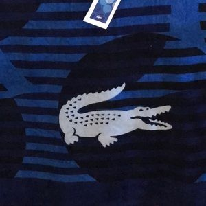 New Lacoste alligator blue beach towel men's